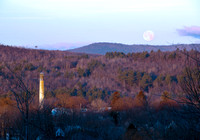 Moon setting over Livermore Falls