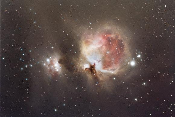 "M42 the Orion nebula and NGC 1977 ""the Running Man"""